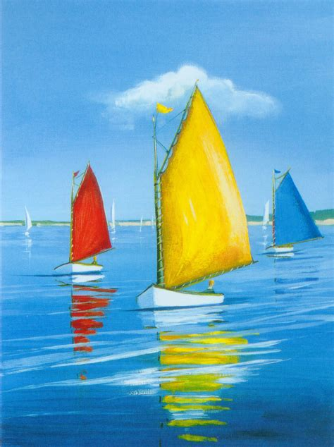 yellow boat paint red yellow blue boats oil painting seascape art