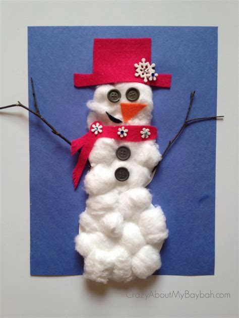 cotton ball snowman 768x1024 25 winter and christmas