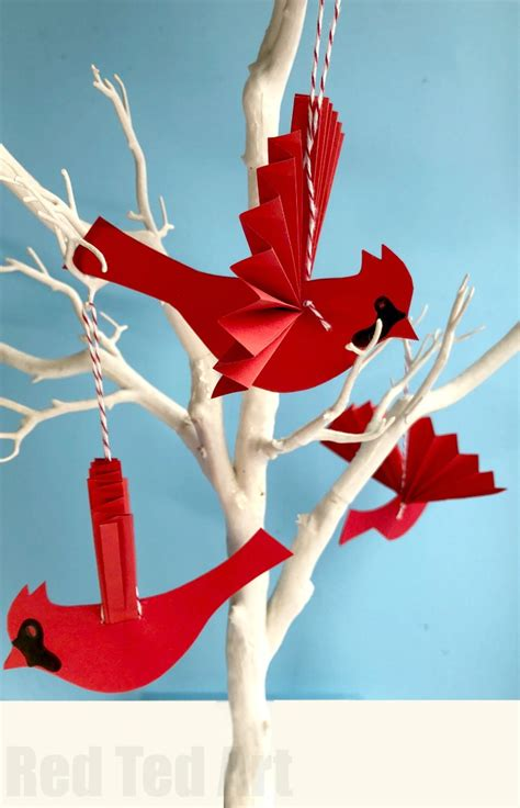 How To Make A Paper Ornament - easy paper fan cardinal ornament for ted