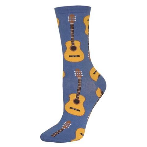 Guitar Pattern Socks | acoustic guitar socks women s cornflower blue