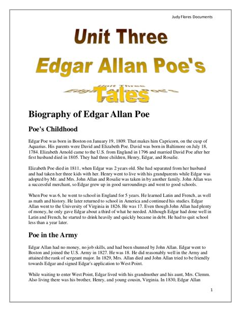 edgar allan poe education biography thematic unit three biography of edgar allan poe