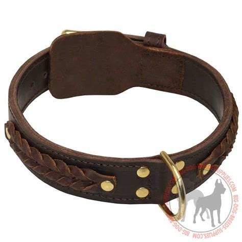 leather collar get 2 ply braided leather doberman collar walking