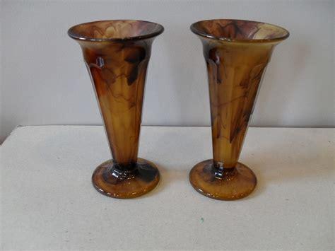 vintage 1930s deco brown cloud glass vase davidson
