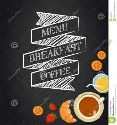 breakfast menu drawing with chalk on blackboard stock