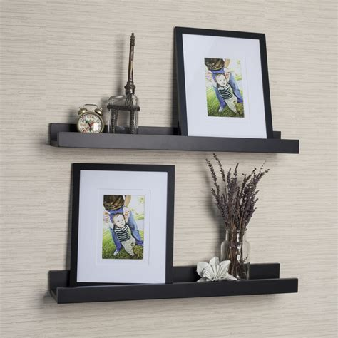 Black Picture Ledge Shelf by Metal Picture Ledges Displaying Attractive Decorations In