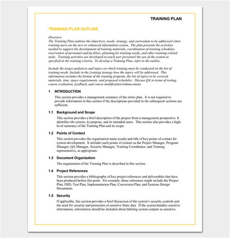 training program outline template 19 for word pdf