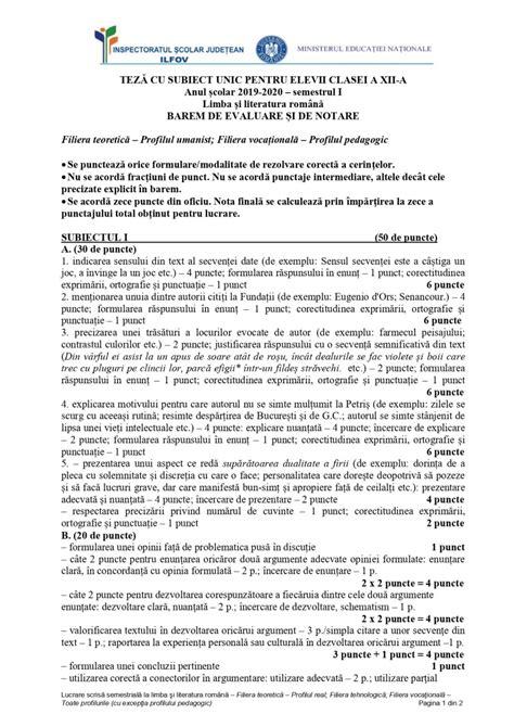 clasa    teza cu subiect unic limba romana  scolar   semestrul  subiecte