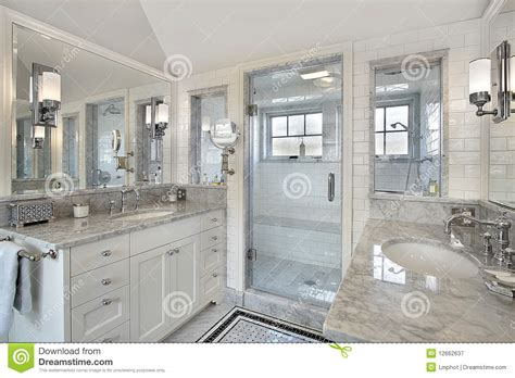 master bath with windowed shower royalty free stock