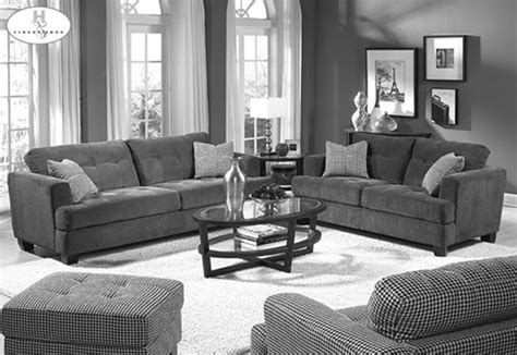 Small Stuffed Chairs Design Ideas Plush Grey Themes Living Room Design With Grey Velvet Sofa Set Also Oval Glass Top Coffee Table