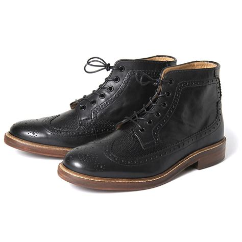 black brogue boots h by hudson boots hemming black leather mens brogue boot