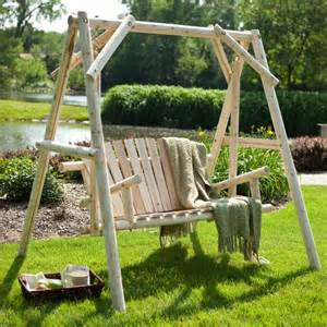 Outdoor Swing Sets Rustic Log Porch Swing And A Frame Set Modern