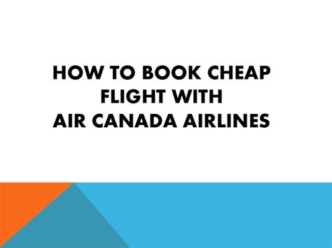 how to book cheap flight tickets with air canada
