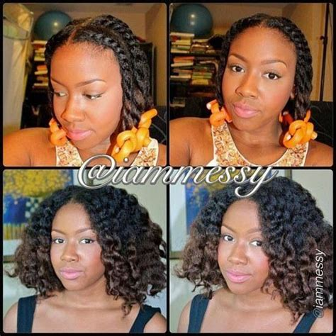 two strand twist flexi rod flat twist out with flexi rods at ends natural hair