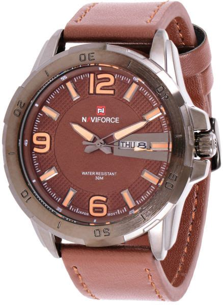 Naviforce Original Brown Leather naviforce s brown leather band nf9055 price review and buy in kuwait kuwait