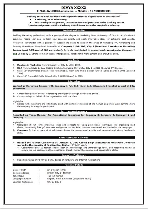 resume format for bank for freshers resume for freshers for bank jo image collections cv letter and format sle letter