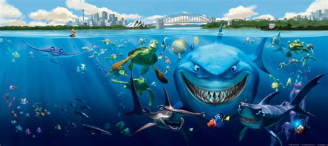 Coral Home Decor by Wall Mural Wallpaper Finding Nemo 3 Sharks Bruce Anchor