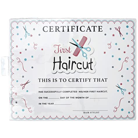 My Haircut Certificate Template by Salon Care My Haircut Certificate