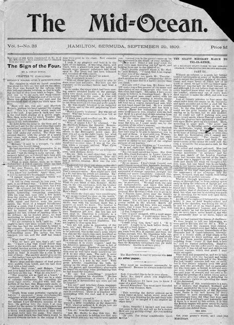Bermuda History: [1899] The Mid-ocean newspaper