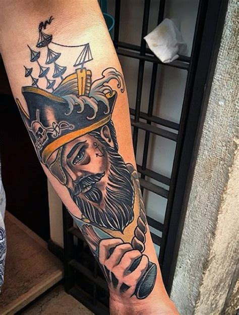 tattoo old school pirate old school style colored old pirate tattoo on arm