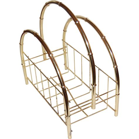 faux bamboo l hollywood regency faux bamboo goldtone magazine stand from