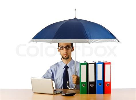 Office Desk Umbrella Businessman Holding Umbrella In The Office Stock Photo