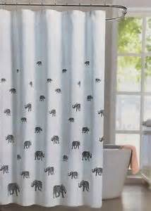 Cotton Fabric Shower Curtains Envogue Bosworth Fabric Shower Curtain Lucky Elephant Grey Gray White Cotton New Ebay