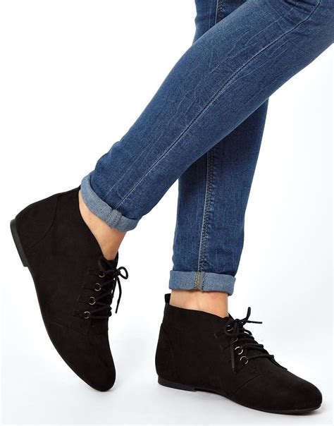 ankle flat shoes black lace up ankle boots flat coltford boots