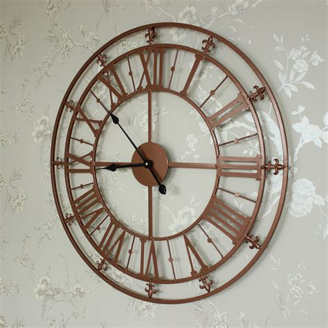 vintage skeleton wall clock oversized clocks large copper painted skeleton wall clock shabby vintage