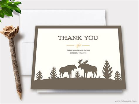 free printable rustic thank you cards moose wedding thank you cards printable personalized note