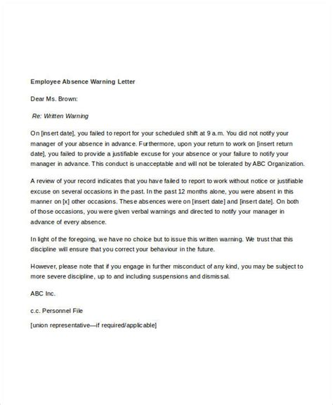 Absence Sle Letter Written Warning Template For Attendance 28 Images Written Warning Template Cyberuse Sle