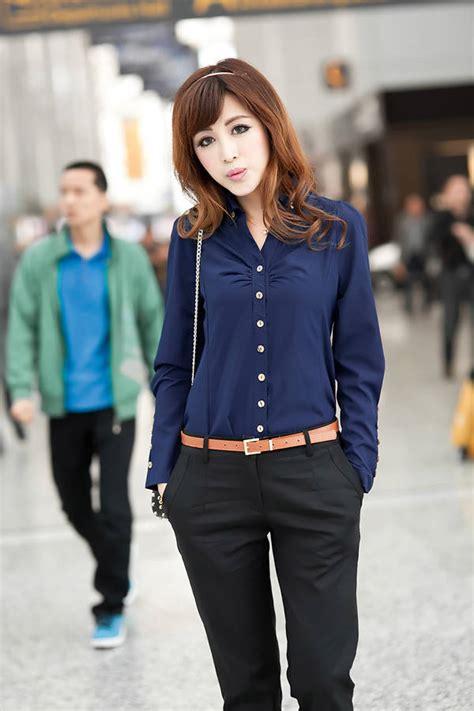 Invictus Baju Santai Biru Dongker kemeja kerja wanita import biru tua lengan panjang model
