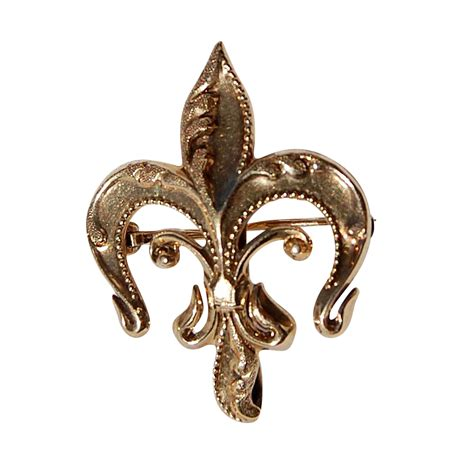 Brooch Fleur 1 vintage 14k gold fleur d lis brooch pin from