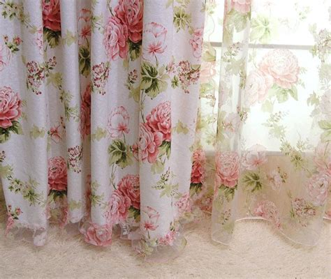 french voile curtain panels 2 x custom made french country cottage rose floral sheer