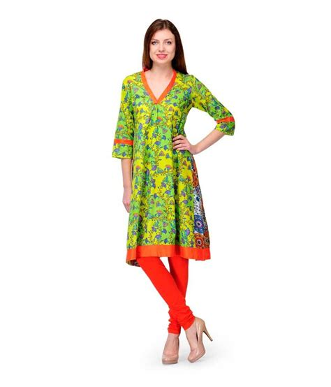 kurti pattern anarkali shwetna green printed pattern cotton anarkali kurta price