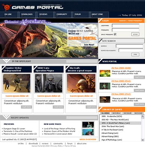 portal templates gaming portal template 0581 website