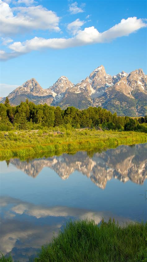 wallpaper mountains beaver ponds tetons morning