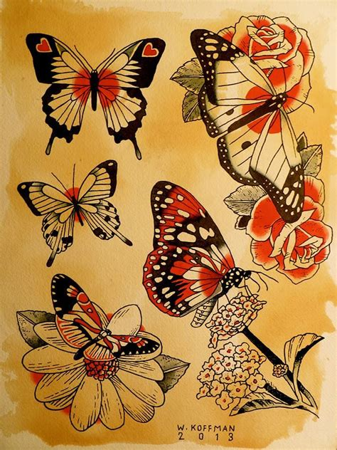 tattoo flash butterfly butterfly daisy roses hearts watercolor indiaink