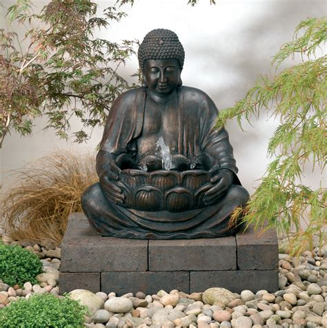 solar powered buddha water feature 163 109 99