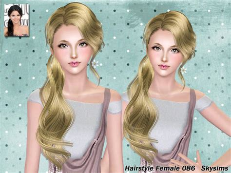 side ponytail sims 3 wavy side ponytail hairstyle 086 by skysims sims 3 hairs