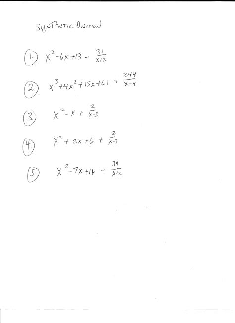 Division And Synthetic Division Worksheet by Synthetic Division Worksheets Free Worksheets Library
