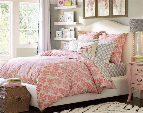 pbteen bedrooms grey pink white color scheme teenage girl bedroom ideas