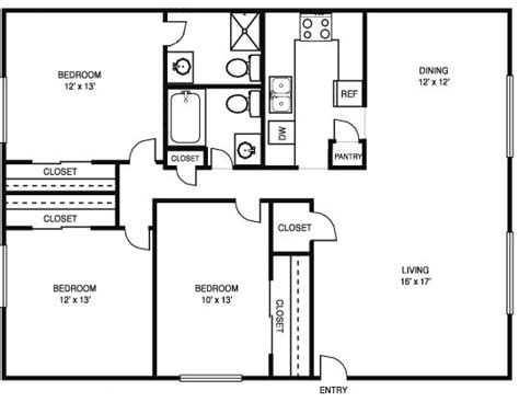 3 Bed 2 Bath Floor Plans by 3 Bedroom 2 Bath Floor Plans Marceladick Com
