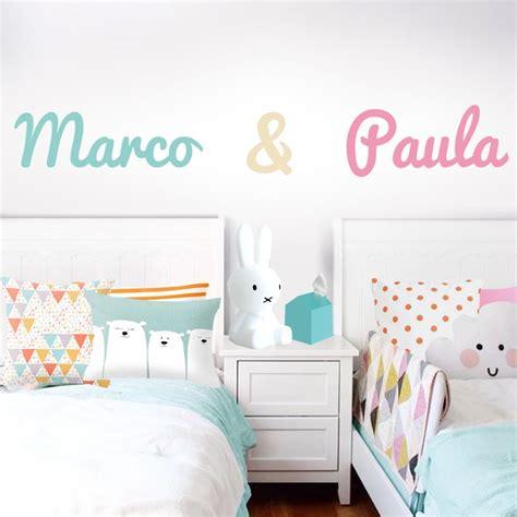 decoracion habitacion bebes mellizos vinilo infantil nombre gemelos habitacion habitaciones