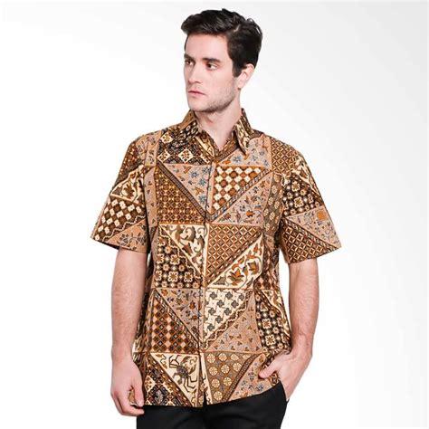 Kemeja Lengan Pendek Pria Brown jual danar hadi motif tambal v rinenggo batik kemeja