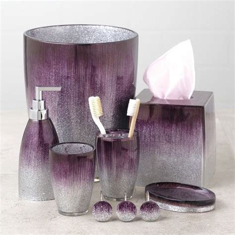 Aubergine Bathroom Accessories Stardust Purple Bath Collection Soap Dispenser Tissue Box Cup Curtain Hooks Bath