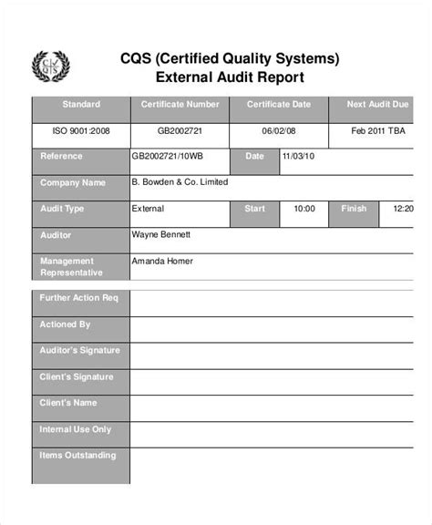 quality improvement report template 13 quality audit report templates docs word