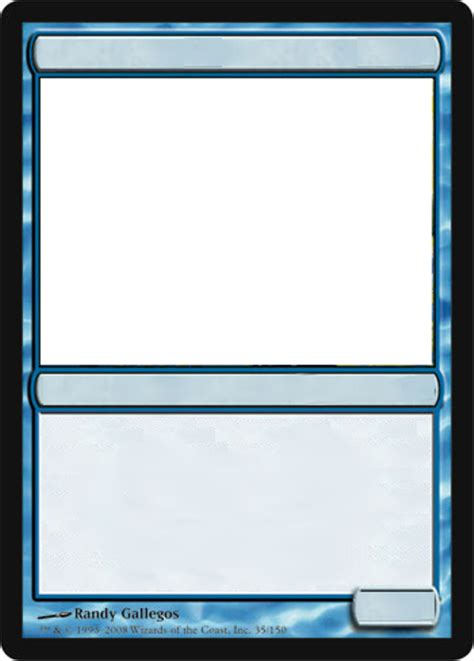 magic card template mtg blank blue card by growlydave on deviantart