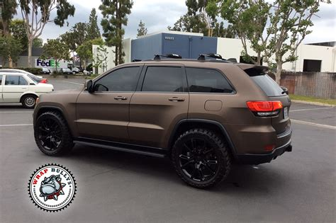 matte maroon jeep grand cherokee jeep wrapped in 3m matte brown wrap bullys