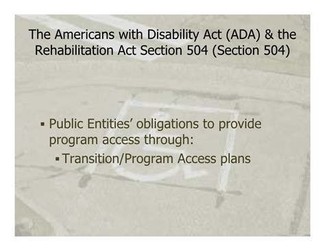 Rehab Act Section 504 by Ada Transition Plans Apbp Webinar