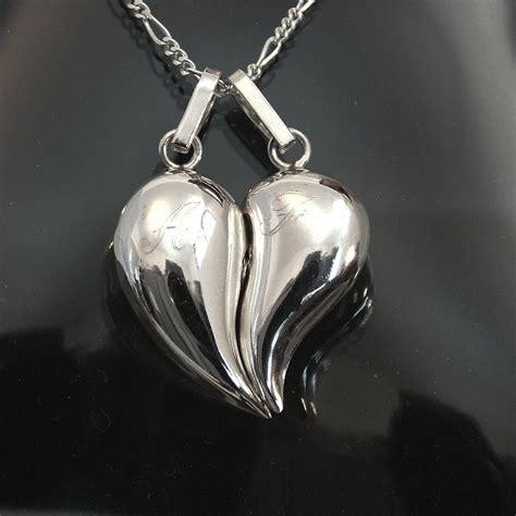 cadenas de plata corazones partidos corazon partido bonbacho en plata ley 0 925 con dos